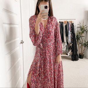 Nicholas Blossom Smocked Maxi Dress Red